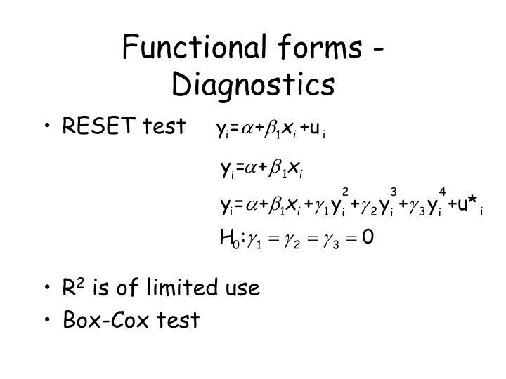 Functional forms - Diagnostics