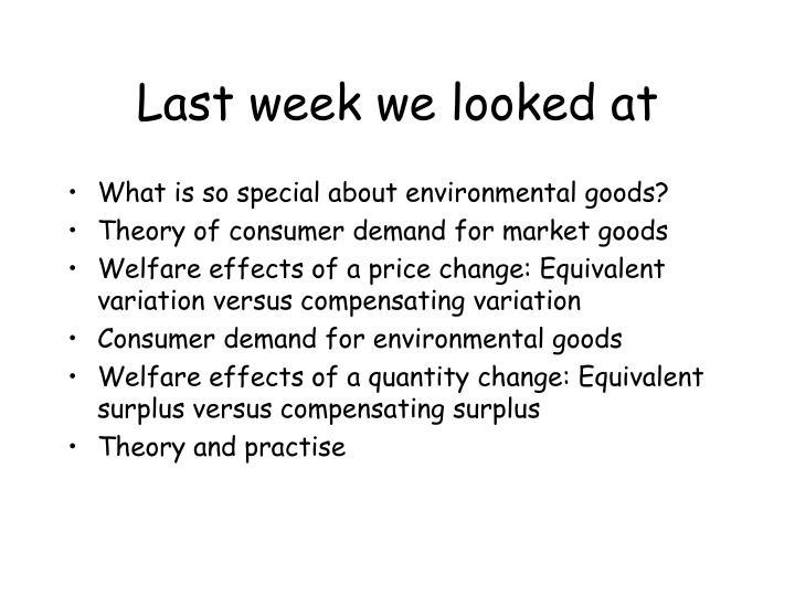 Last week we looked at