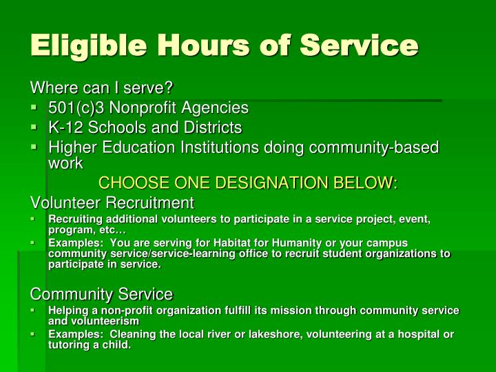 Eligible Hours of Service
