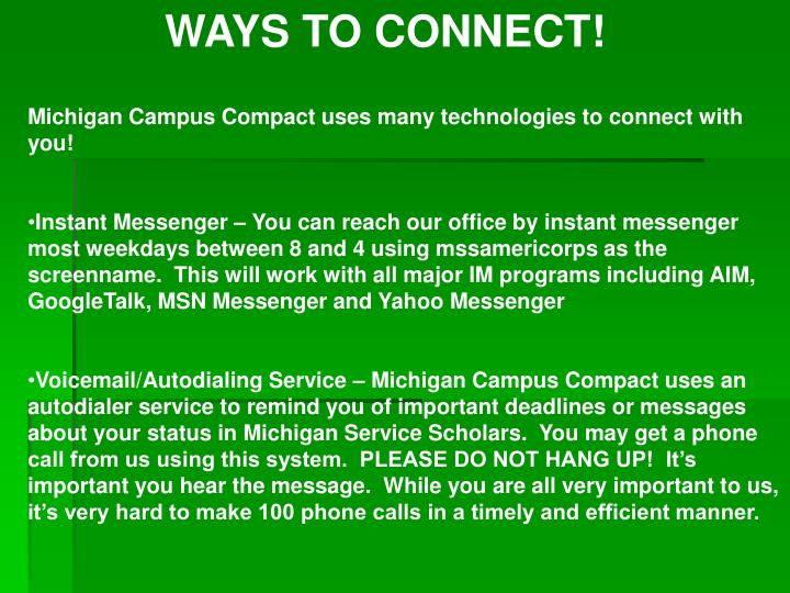 WAYS TO CONNECT!