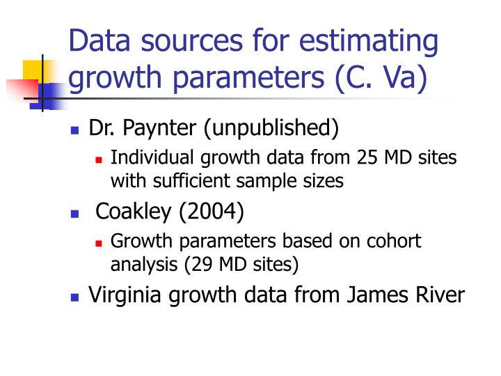 Data sources for estimating growth parameters (C. Va)