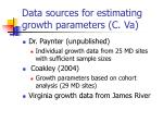 data sources for estimating growth parameters c va