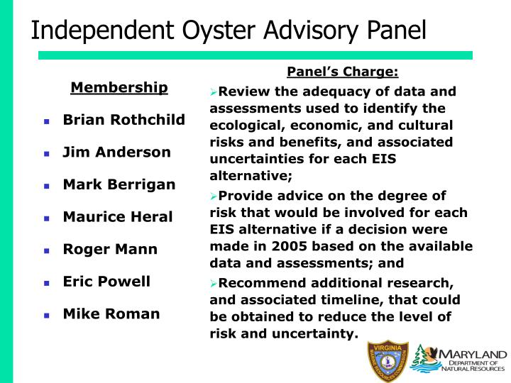 Independent Oyster Advisory Panel