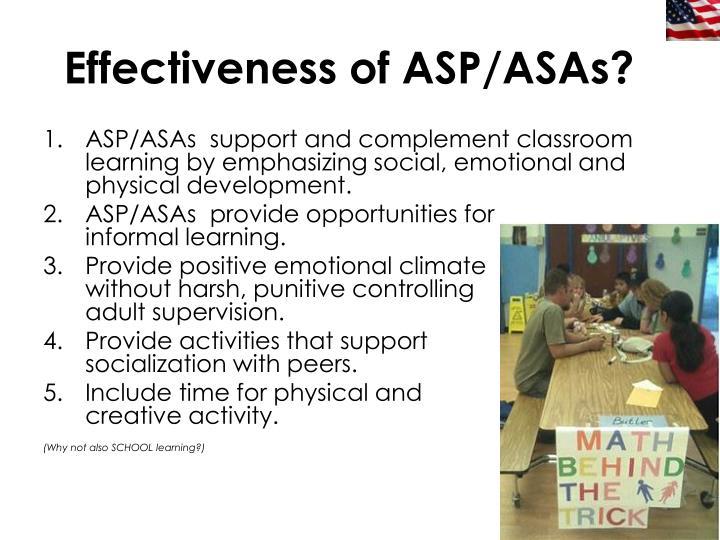 Effectiveness of ASP/ASAs?