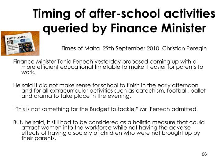 Timing of after-school activities queried by Finance Minister