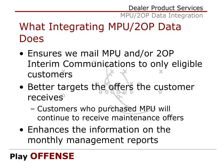 What Integrating MPU/2OP Data Does