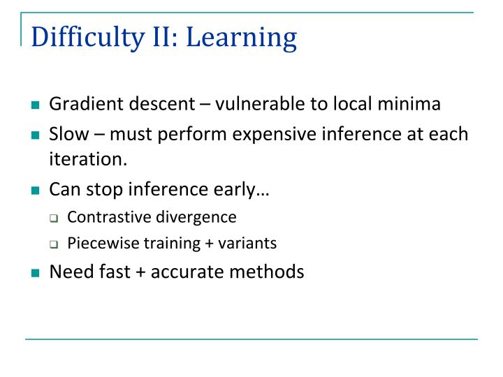 Difficulty II: Learning