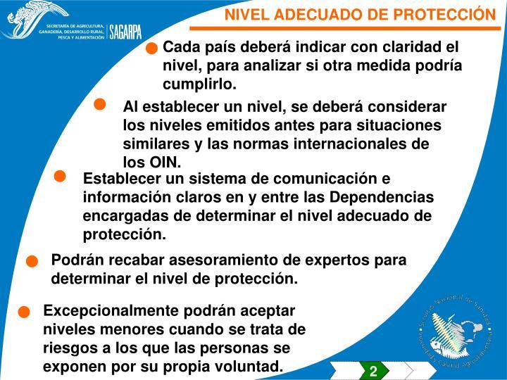 NIVEL ADECUADO DE PROTECCIÓN