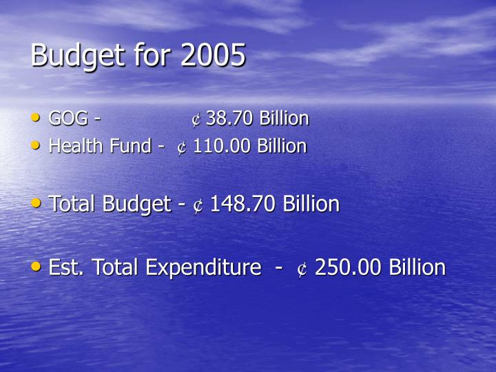 Budget for 2005