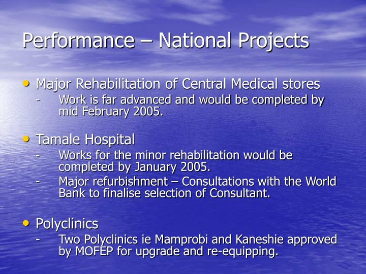 Performance – National Projects