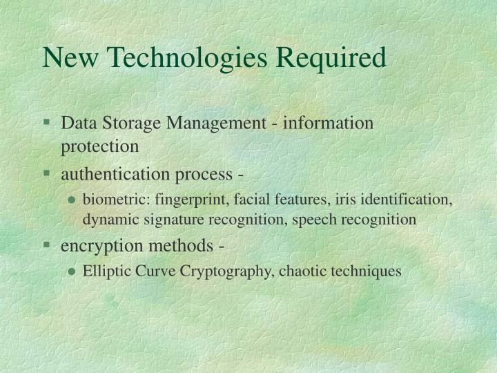 New Technologies Required