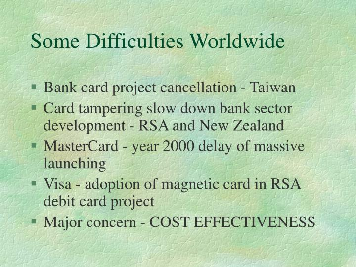 Some Difficulties Worldwide
