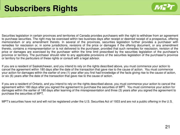 Subscribers Rights