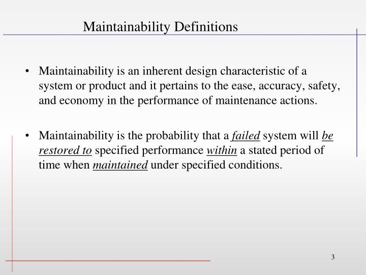 Maintainability definitions