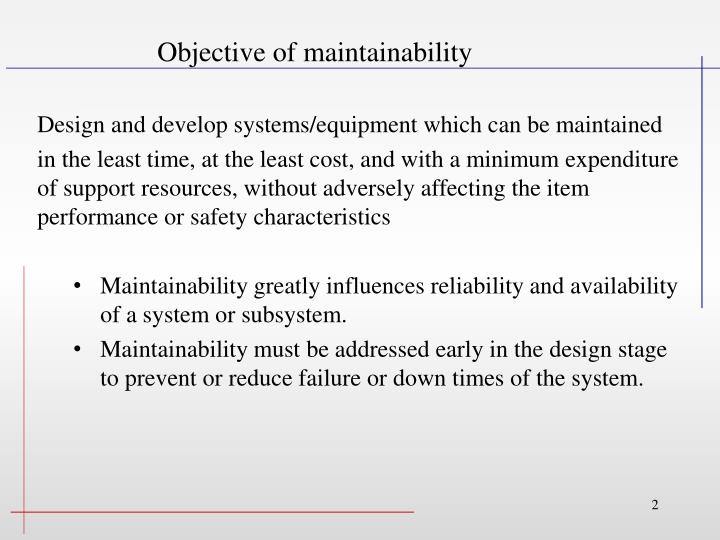 Objective of maintainability