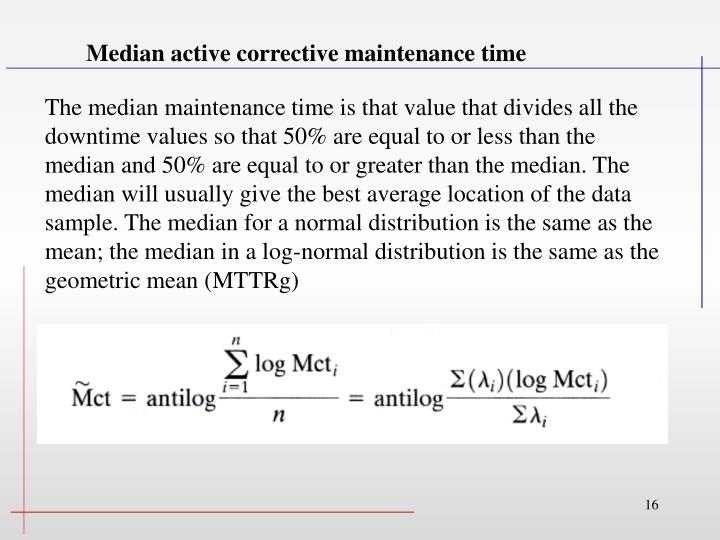 Median active corrective maintenance time