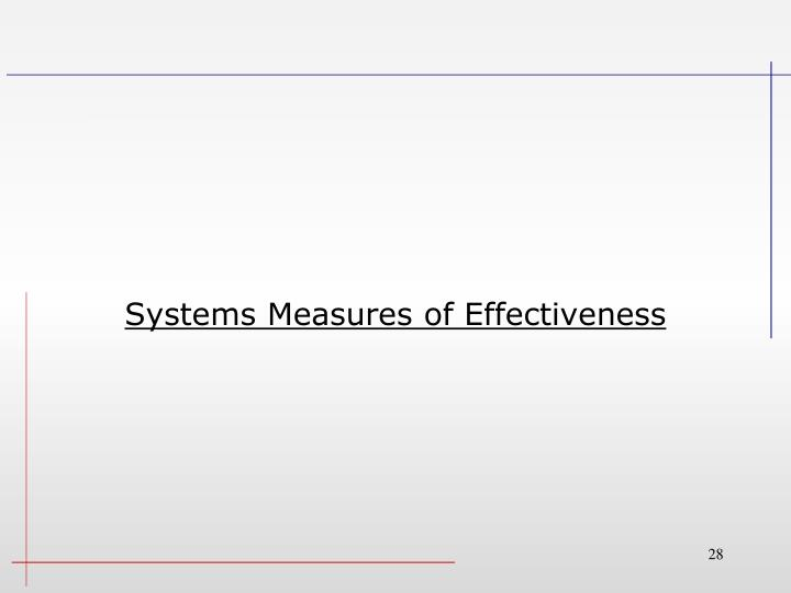 Systems Measures of Effectiveness