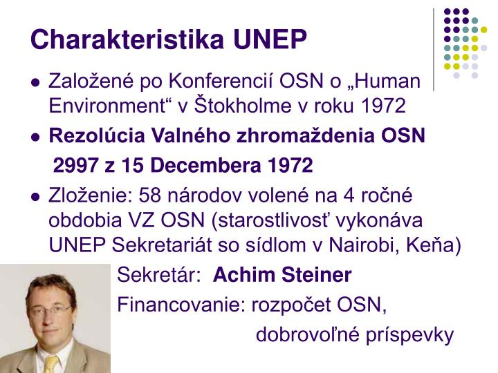 Charakteristika UNEP