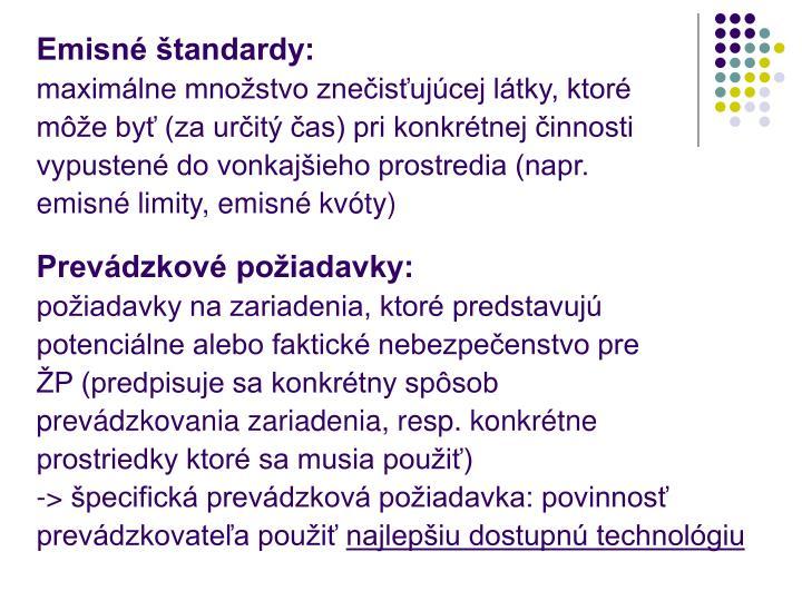 Emisné štandardy: