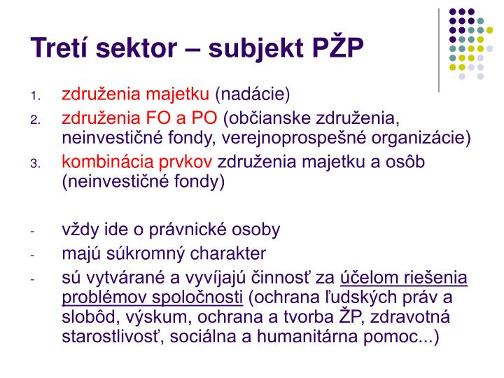 Tretí sektor – subjekt PŽP