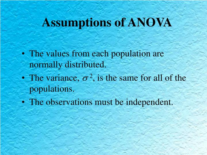 Assumptions of anova