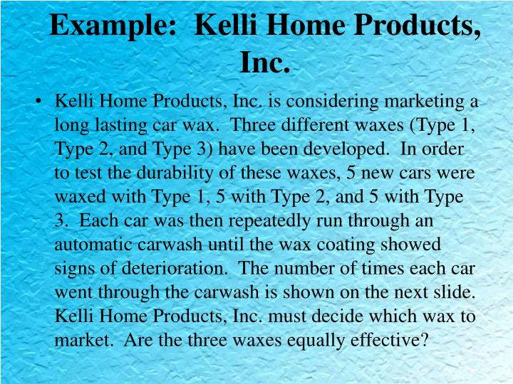 Example:  Kelli Home Products, Inc.