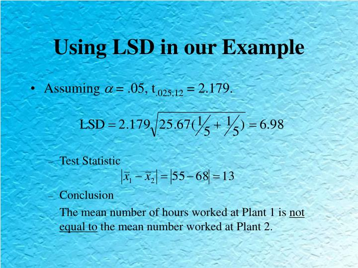 Using LSD in our Example