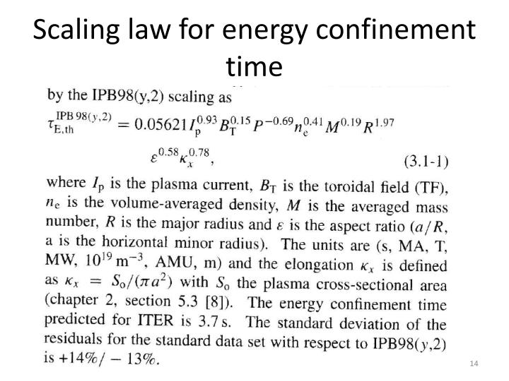 Scaling law for energy confinement time