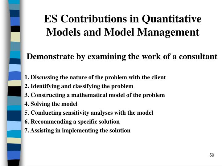 ES Contributions in Quantitative Models and Model Management