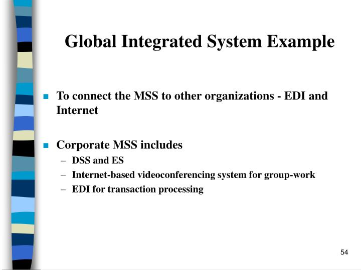 Global Integrated System Example