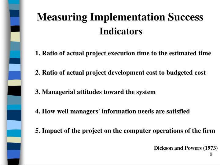 Measuring Implementation Success