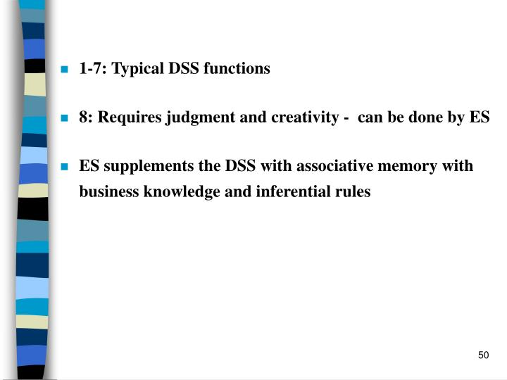 1-7: Typical DSS functions