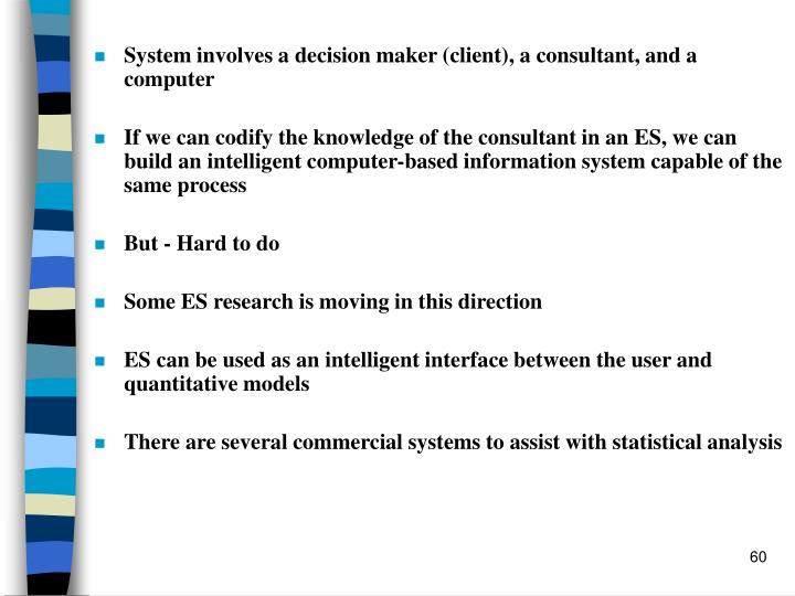 System involves a decision maker (client), a consultant, and a computer