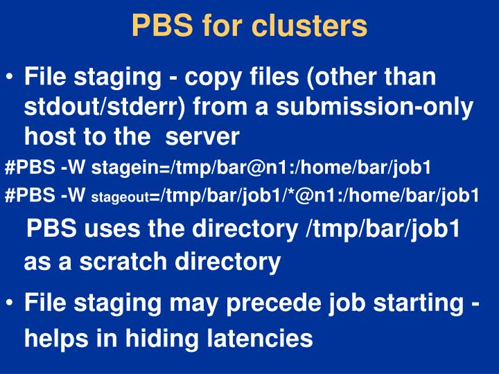 PBS for clusters