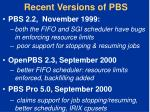 recent versions of pbs