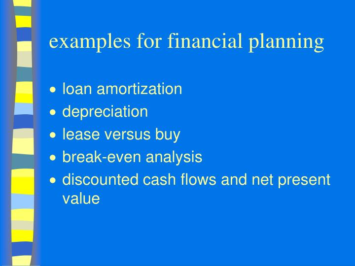 examples for financial planning