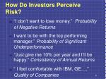 how do investors perceive risk