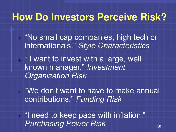 How Do Investors Perceive Risk?