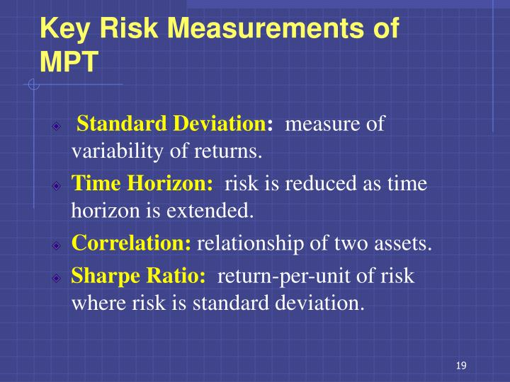 Key Risk Measurements of MPT