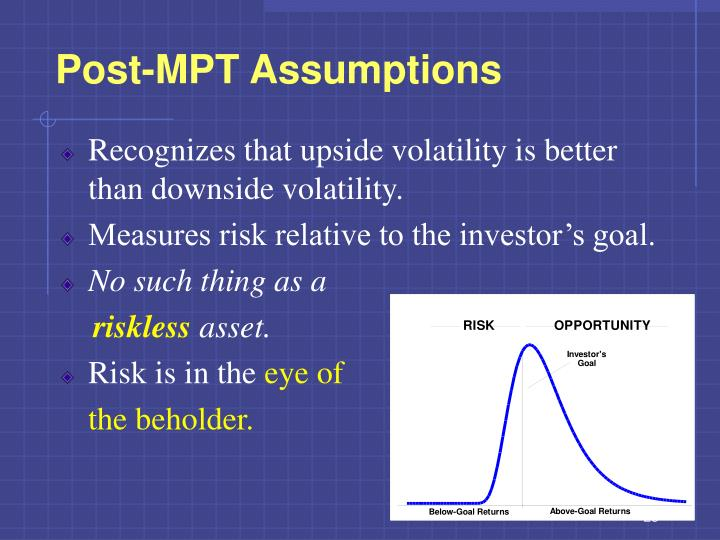 Post-MPT Assumptions
