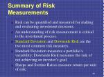 summary of risk measurements