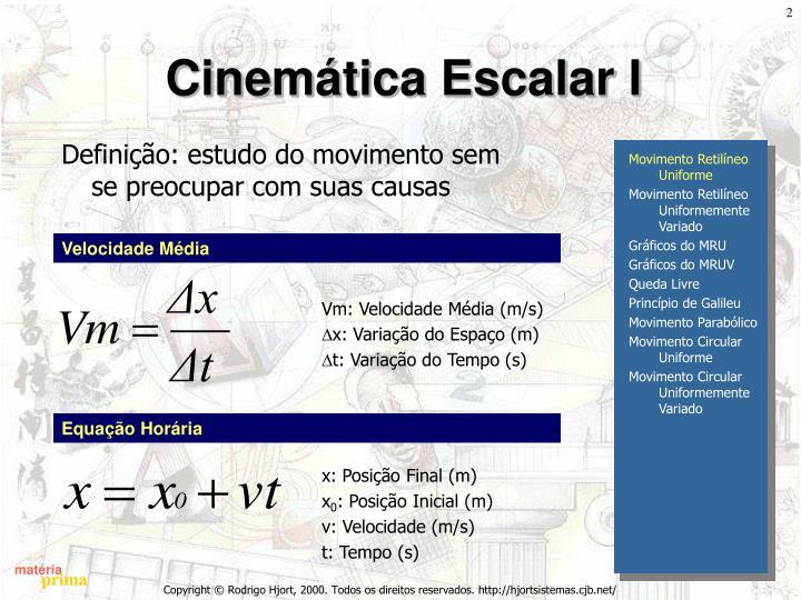 Cinemática Escalar I