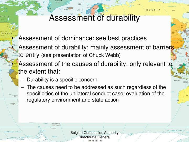 Assessment of durability