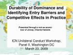 durability of dominance and identifying entry barriers and competitive effects in practice
