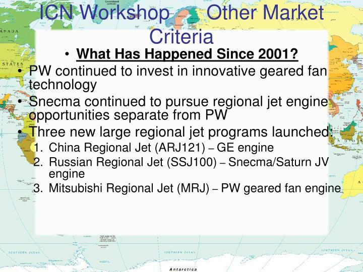 ICN Workshop    Other Market Criteria