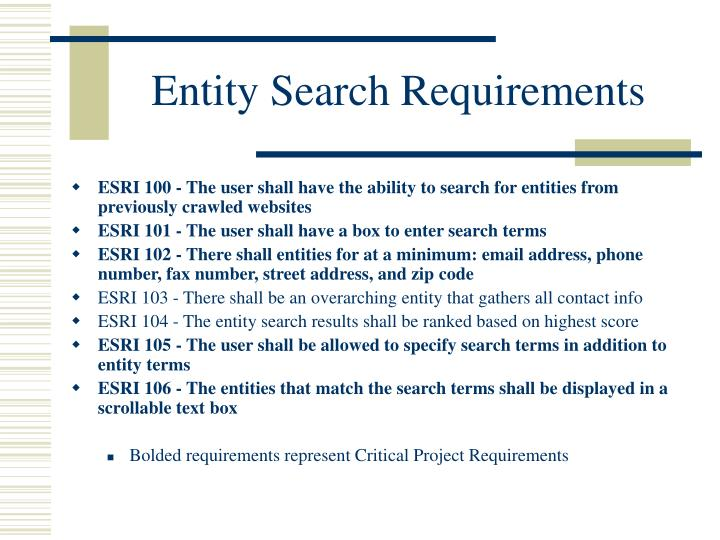 Entity Search Requirements