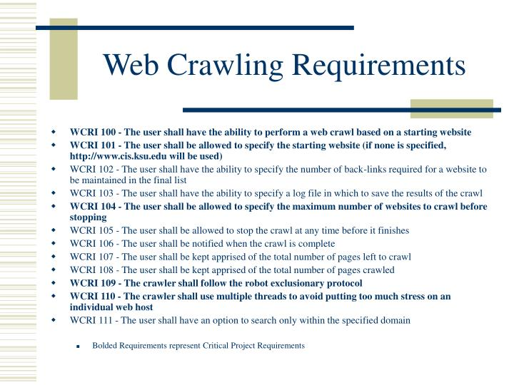 Web Crawling Requirements