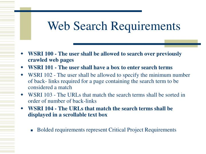 Web Search Requirements