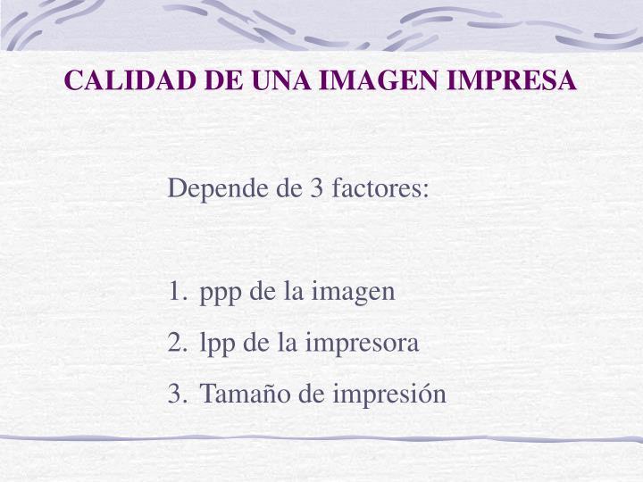 CALIDAD DE UNA IMAGEN IMPRESA