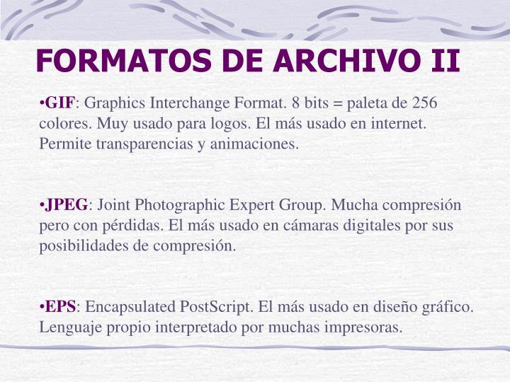 FORMATOS DE ARCHIVO II